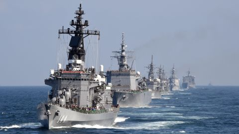 Japan's Maritime Self-Defense Force escort ship Kurama leads other ships during a fleet review off Sagami Bay, Kanagawa prefecture, on October 18, 2015. Japan has 47 surface combatants.