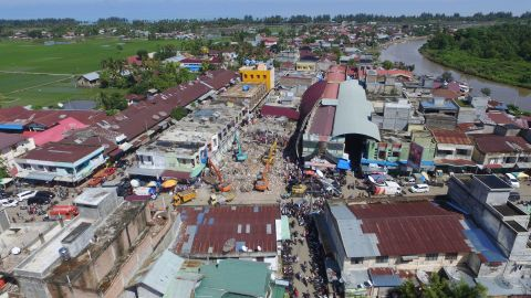 An overview of Pidie Jaya shows continuing rescue efforts on December 8.