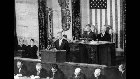 The famed astronaut addresses a joint session of Congress on February 28, 1962.