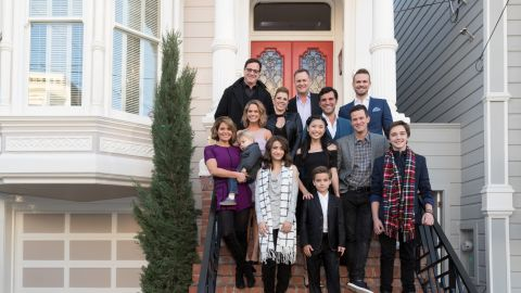 (From left) Candace Cameron Bure, Jodie Sweetin, Andrea Barber, Bob Saget, Dave Coulier, Juan Pablo Di Pace, Scott Weinger, John Brotherton, Michael Campion, Elias Harger, Soni Nicole Bringas, Ashley Liao, Dashiell & Fox Messitt and EP Jeff Franklin pose outside the iconic Full House victorian in San Francisco on Friday, December 2, to celebrate the launch of Fuller House Season 2 on Netflix.