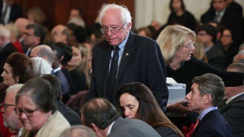 Sen. Bernie Sanders (I-VT), attends a portrait unveiling ceremony for outgoing Senate Minority Leader Harry Reid (D-NV), on Capitol Hill December 8, 2016 in Washington, DC.