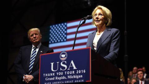 "Betsy DeVos, <a href=""http://www.cnn.com/2016/11/23/politics/betsy-devos-picked-for-education-secretary/"" target=""_blank"">Trump's pick for education secretary,</a> speaks during an event in Grand Rapids, Michigan, on Friday, December 9."