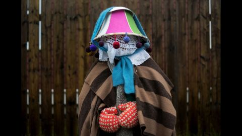 Christine Legrow was particularly proud of the pie plate she tied on top of her lampshade to keep the rain off.