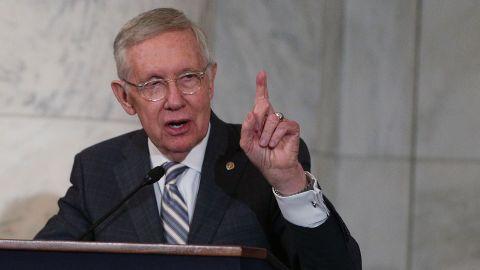 Senate Minority Leader Sen. Harry Reid speaks on December 8, 2016, on Capitol Hill.