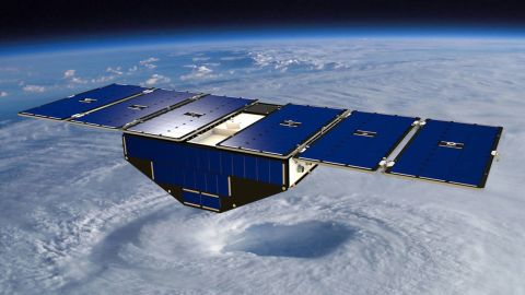Artist's concept of one of the eight Cyclone Global Navigation Satellite System satellites deployed in space above a hurricane.
