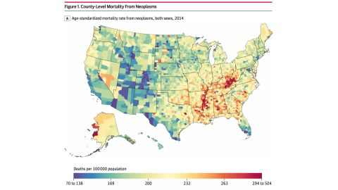 Neoplasms, also known as tumors, have been linked to high mortality rates in counties along the southern half of the Mississippi River; eastern Kentucky, such as Powell County; western Virginia; and western Alaska, such as the Wade Hampton Census Area.