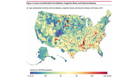 Mortality rates due to diabetes, urogenital, blood and endocrine diseases were particularly high within counties in Arkansas, Louisiana and Mississippi along the Mississippi River as well as counties with Native American reservations in North Dakota and South Dakota.