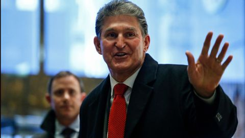 US Senator Joe Manchin leaves after a meeting with US President-elect Donald Trump at Trump Tower December 12, 2016 in New York.
