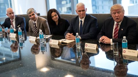 """Trump <a href=""""http://money.cnn.com/2016/12/14/technology/trump-tech-summit-silicon-valley/"""" target=""""_blank"""">meets with technology executives</a> in New York on Wednesday, December 14. From left are Jeff Bezos, chief executive officer of Amazon; Larry Page, chief executive officer of Google's parent company Alphabet; Sheryl Sandberg, chief operating officer of Facebook; and Vice President-elect Mike Pence. The three main areas discussed were jobs, immigration and China, according to a source briefed on the meeting."""