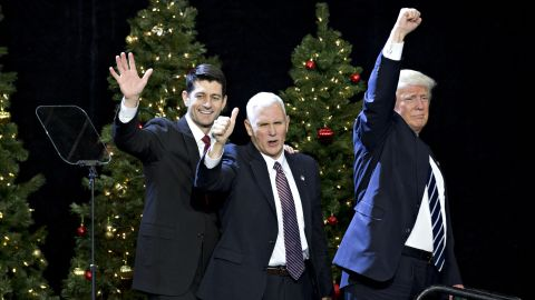 """Trump, Pence and House Speaker Paul Ryan wave during an event in West Allis, Wisconsin, on Tuesday, December 13. """"He's like a fine wine,"""" Trump said of Ryan at <a href=""""http://www.cnn.com/2016/12/13/politics/donald-trump-paul-ryan-wisconsin-thank-you-tour/"""" target=""""_blank"""">the rally,</a> which was part of his """"thank you"""" tour to states that helped him win the election. """"Every day that goes by, I get to appreciate his genius more and more."""""""