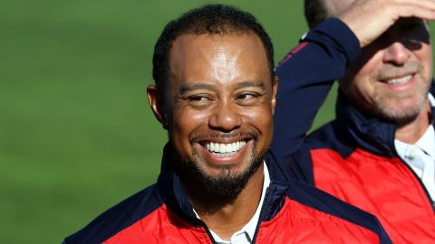 CHASKA, MN - SEPTEMBER 27: Vice-captain Tiger Woods of the United States looks on during team photocalls prior to the 2016 Ryder Cup at Hazeltine National Golf Club on September 27, 2016 in Chaska, Minnesota.  (Photo by Sam Greenwood/Getty Images)