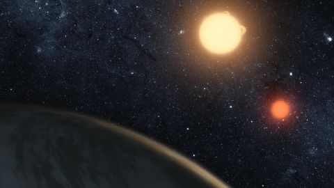 https://exoplanets.nasa.gov/news/239/8-planets-that-make-you-think-star-wars-is-real/ The Kepler-16 binary star system creates a double sunset like the one on Luke's home world Tatooine. Credit: NASA/JPL-Caltech/T. Pyle