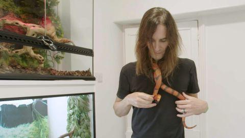 Steve Ludwin with a Honduran milk snake.