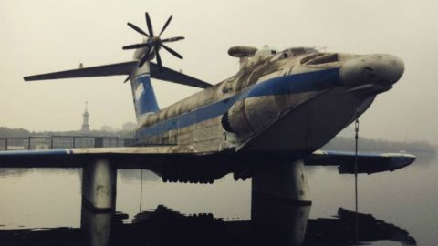 This hybrid between a boat and an airplane -- on display at the Naval Museum -- used the aerodynamic forces of the ground effect to skim above the water at speeds in excess of 400 kph.