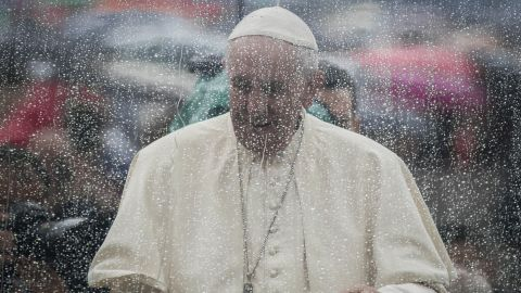 Pope Francis arrives to celebrate an extraordinary Jubilee Audience as part of ongoing celebrations of the Holy Year of Mercy in St. Peter's Square in Vatican City on May 14, 2016.