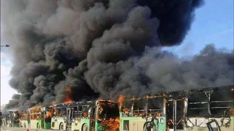 Militants burned at least five buses assigned to evacuate people in Aleppo on Sunday, December 18. Aleppo has been held by rebels for the past four years, but it is now almost entirely under government control.