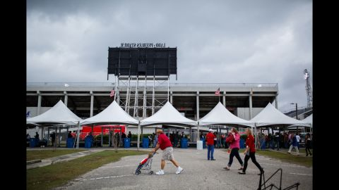 Attendees had to pass through a Secret Service checkpoint before entering the stadium. Security was ramped up compared to a Trump rally last year at the same location in Mobile.