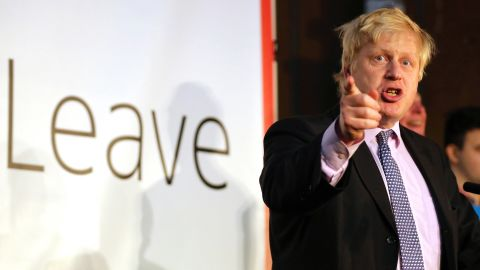 Boris Johnson addressing supporters during a rally for the 'Vote Leave' campaign
