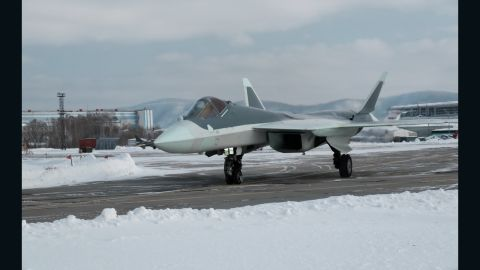 A prototype of the new Russian fifth-generation T-50 stealth fighter taxis in an image from the website of the manufacturer, the Komsomolsk-on-Amur Aircraft Plant.
