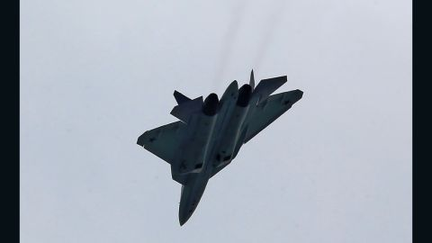 The Russian T-50 fighter is a single-seat, twin-engine craft.