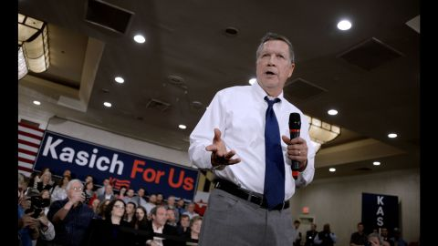 Republican presidential candidate John Kasich speaks during a town hall style campaign stop at the Crowne Plaza on April 19, 2016 in Annapolis, Maryland. The Maryland presidential primary will be held on April 26th. / AFP / Olivier Douliery        (Photo credit should read OLIVIER DOULIERY/AFP/Getty Images)