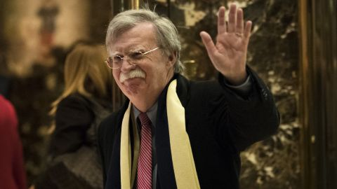 John Bolton, former United States Ambassador to the United Nations, waves as he leaves Trump Tower, December 2, 2016 in New York City.