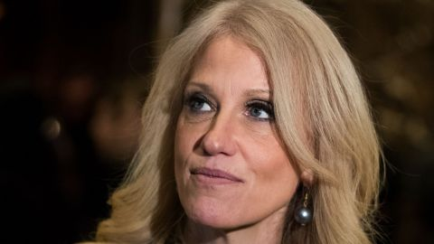 NEW YORK, NY - DECEMBER 15: Republican political strategist Kellyanne Conway speaks with reporters in the lobby at Trump Tower, December 15, 2016 in New York City. President-elect Donald Trump and his transition team are in the process of filling cabinet and other high level positions for the new administration. (Photo by Drew Angerer/Getty Images)