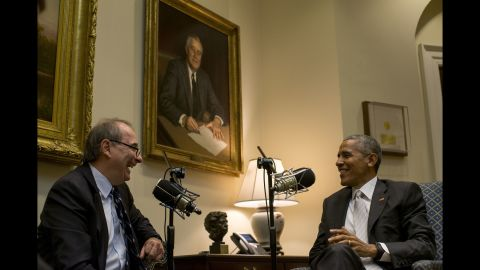 """12/7/16, The White House, Washington, D.C.President Barack Obama sits with David Axelrod for his podcast """"The Axel Files"""" in the Roosevelt Room of the White House in Washington, D.C. on Dec. 7, 2016. Gabriella Demczuk / CNN"""