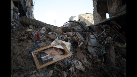 Rubble is seen in the Salaheddine neighborhood on March 24, 2013, in Aleppo.
