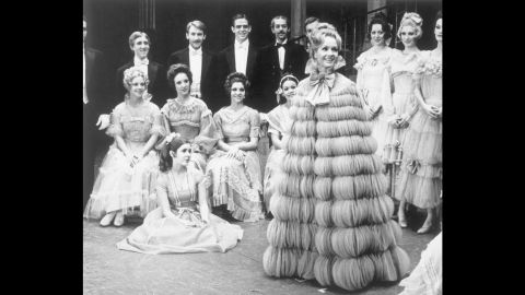 """Debbie Reynolds makes her first appearance on Broadway in a remake of the 1919 musical """"Irene"""" in 1973. Fisher, seated on the floor, dropped out of high school at age 15 and was featured in the musical as part of the chorus."""