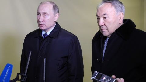 Russian President Vladimir Putin, left, and Nursultan Nazarbayev, president of Kazakhstan, speak to members of the media in St. Petersburg, Russia, on December 25. Putin has ordered Prime Minister Dmitry Medvedev to lead an investigation of the crash, Russian news agency Sputnik reported.