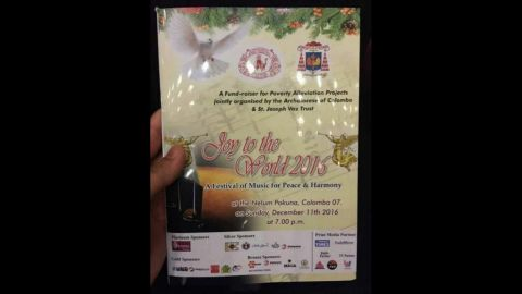 """The cover of the hymn service, where misprinted lyrics to """"Hail Mary"""" were used, in Colombo on December 11."""