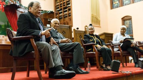From left, civil rights leaders Andrew Young, C.T. Vivian and Xernona Clayton issued a call to action to the players.