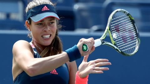 NEW YORK, NY - AUGUST 30: Ana Ivanovic of Serbia returns a shot to Denisa Allertova of Czech Republic during her first round Women's Singles match on Day Two of the 2016 US Open at the USTA Billie Jean King National Tennis Center on August 30, 2016 in the Flushing neighborhood of the Queens borough of New York City.  (Photo by Elsa/Getty Images)