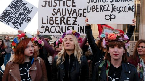 Women's rights advocates marched for Jacqueline Sauvage's release at a rally in Paris in December.