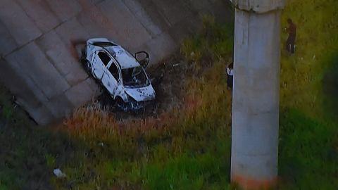Image from TV Globo News shows the car of Kyriakos Amiridis that was found under a bridge in Nova Iguacu.