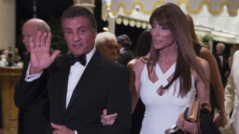 Sylvester Stallone arrives at President-elect Donald Trump's New Year's Eve party on December 31, 2016 at Mar-a-Lago in Palm Beach, Florida.