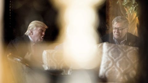 """Trump attends a meeting with Steve Bannon, chief White House strategist and senior counselor, at his Mar-a-Lago resort on Wednesday, December 21. Trump <a href=""""http://www.cnn.com/2016/12/31/politics/donald-trump-new-years-eve/"""" target=""""_blank"""">spent the holidays in Mar-a-Lago.</a>"""