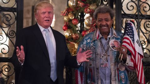 """Trump stands with legendary boxing promoter Don King after meeting at Trump's Mar-a-Lago resort in Palm Beach, Florida, on Wednesday, December 28. Trump and King <a href=""""http://www.cnn.com/2016/12/29/politics/don-king-donald-trump-meeting-peace/index.html"""" target=""""_blank"""">met to discuss</a> the relationship between Israel and the United States."""