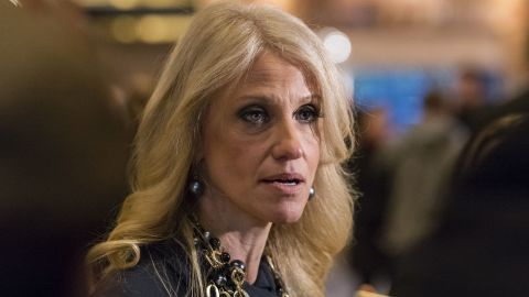 """Trump spokeswoman Kellyanne Conway talks to the press in the lobby of Trump Tower in New York on Thursday, December 15. Conway, who was Trump's campaign manager, <a href=""""http://www.cnn.com/2016/12/22/politics/donald-trump-kellyanne-conway-counselor/"""" target=""""_blank"""">will work in his administration</a> as """"counselor to the president,"""" it was announced on Thursday, December 22."""