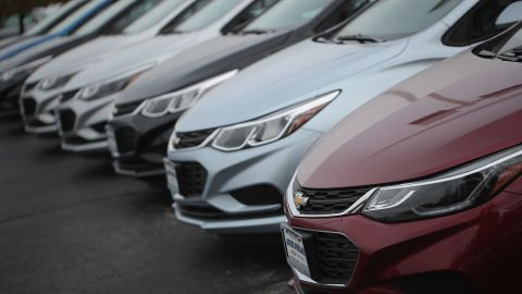 General Motors Co.'s Chevrolet Cruze cars are offered for sale on October 25, 2016, in Lyons, Illinois.