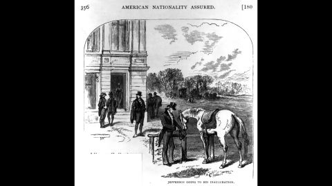 Thomas Jefferson arrives on horseback for his inauguration in 1801. It was the first one held at the US Capitol.