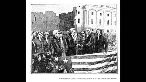 James Monroe's inauguration in 1817 was the first time that the swearing-in ceremony was held outside. The Capitol building was still under repair from its damage in the War of 1812.