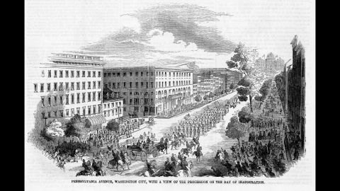 Military units precede Franklin Pierce's carriage down Pennsylvania Avenue during his inauguration day parade in 1853. Pierce broke the tradition of kissing the Bible during the swearing-in ceremony. He placed his left hand on it instead.