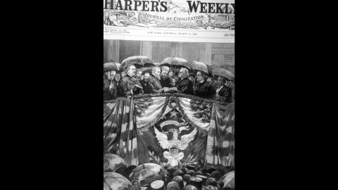 This engraved illustration of Benjamin Harrison's inauguration appeared on the cover of Harper's Weekly in 1889. It was raining during the ceremony.