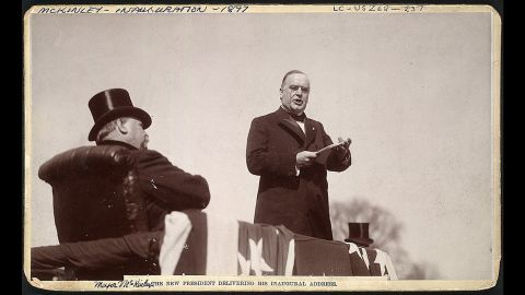 William McKinley delivers his inaugural address in 1897. His inauguration was the first to be recorded on a movie camera. He died in office shortly after being re-elected in 1900.