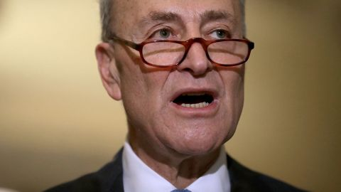 Senate Minority Leader Chuck Schumer talks to reporters at the US Capitol on January 4, 2017.