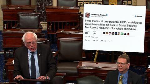 "Sanders <a href=""http://www.cnn.com/videos/politics/2017/01/05/bernie-sanders-trump-tweet-poster-senate-sot.cnn"" target=""_blank"">brings a giant printout of one of Donald Trump's tweets</a> to a Senate debate in January 2017. In the tweet, Trump had promised not to cut Social Security, Medicare and Medicaid."