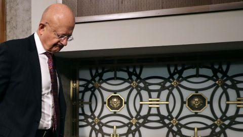 Director of National Intelligence James Clapper arrives before testifying to the Senate Armed Services Committee on Capitol Hill on January 5, 2017.