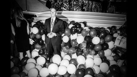 A man is surrounded by balloons at the Republican National Convention in July 2016.